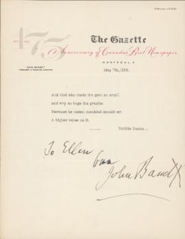 Letter from Major John White Hughes Bassett to Ellen Ballon