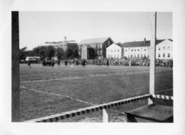 Photograph of a football game at Dalhousie University