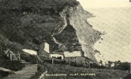 Photograph of Ecclesbourne Cliff, Hastings, East Sussex, England printed on a postcard