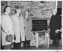 Photograph of the cornerstone laying ceremony of Howe Hall