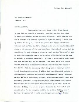 Correspondence between Thomas Head Raddall and S. M. Quinn