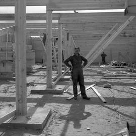 Photograph of Bertrand Berthelot at the construction of the provincial school in Fort Chimo, Quebec