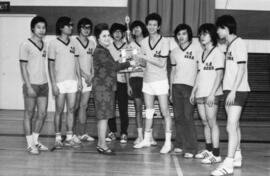 Photograph of Dalhousie Chinese Student Society Dragons receiving a trophy