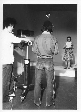 Photograph of cameramen on the set of a television show