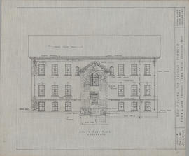 Technical drawing of the south elevation of an arts building for Dalhousie University