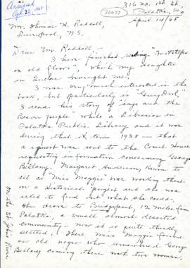 Correspondence between Thomas Head Raddall and Bertha E. Phinney