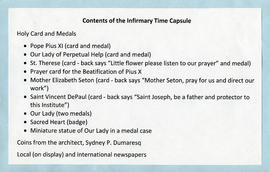 List of contents of the Infirmary Time Capsule
