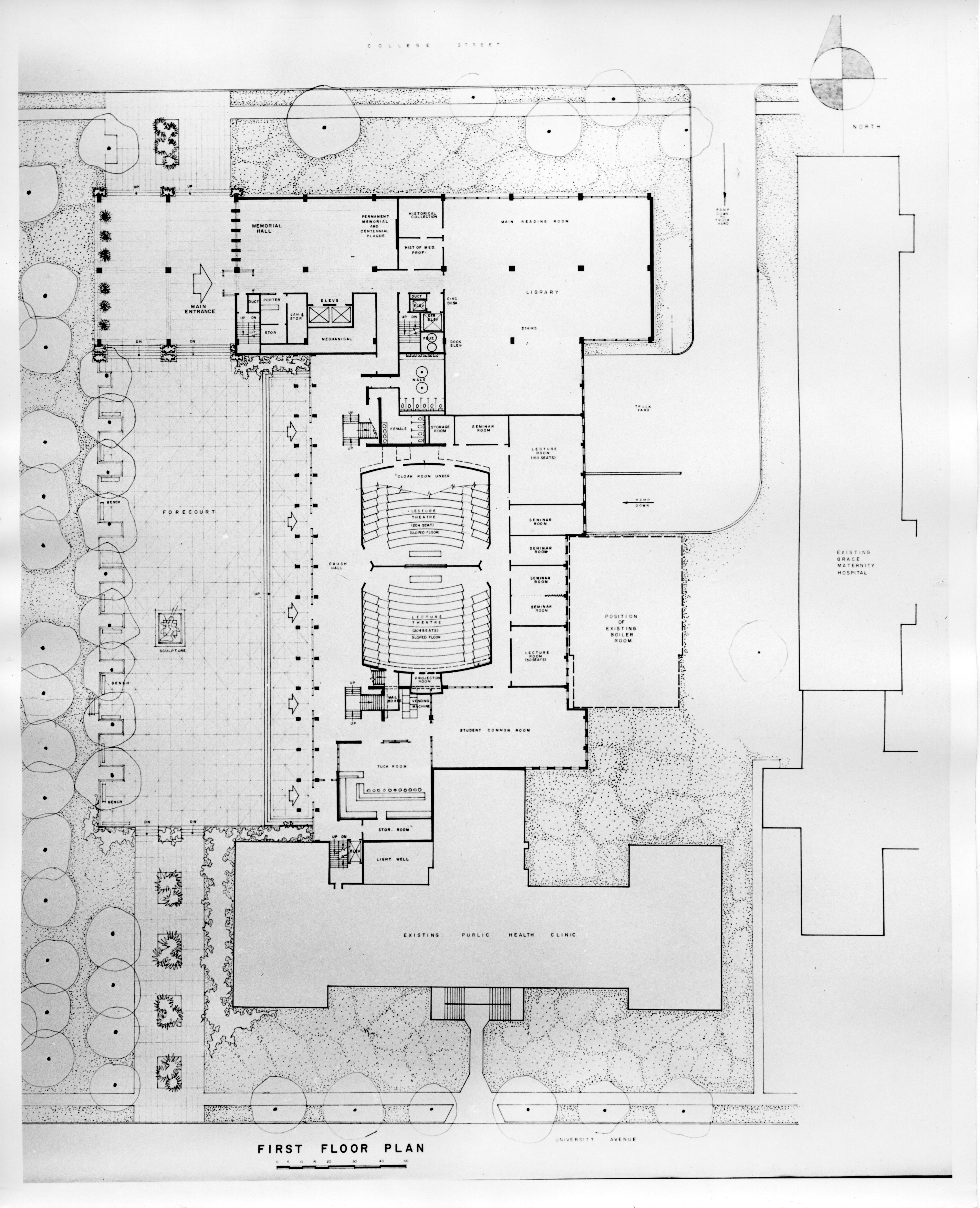 Drawing of the layout of the first floor of the Sir Charles