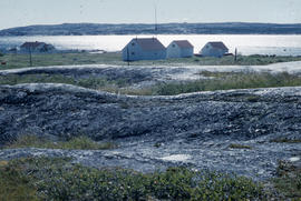 Photograph of the tundra and houses near Fort Chimo, Quebec