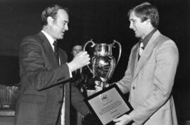 Photograph of Greg Wilson and W. A. MacKay : Climo Trophy presentation