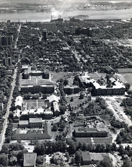 Aerial photograph of Dalhousie University and Halifax