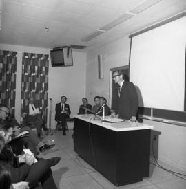 Photograph of a lecture for the Dalhousie medical centennial