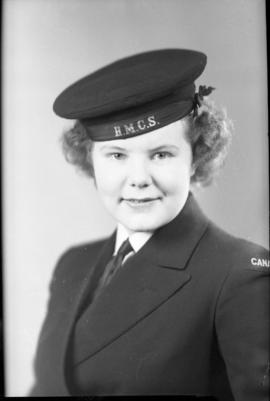 Photograph of Jean Crowther Wren in her HMCS uniform