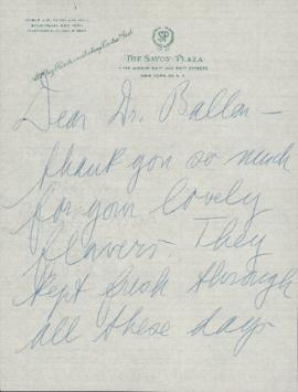 Letter from Lotte Lehmann to Ellen Ballon