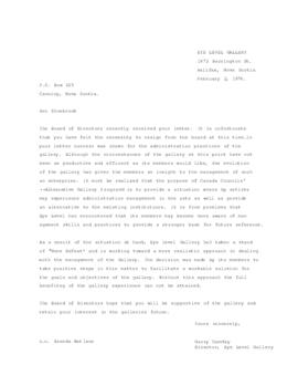 Letter to Ron Shuebrook regarding resignation
