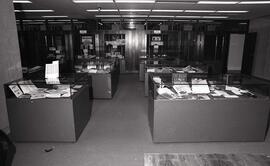 Photograph of display cases in the Special Collections Reading Room