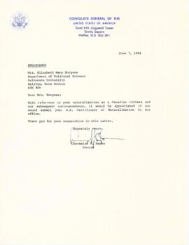 Correspondence between Elisabeth Mann Borgese and the US Consulate General and Department of Stat...