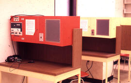 Photograph of the W.K. Kellogg Health Science Library audio stations