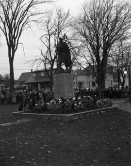 Remembrance Day ceremony at World War One Cenotaph in Carmichael Park, New Glasgow, Nova Scotia