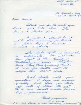 Letter to Anne from Barbara Hinds
