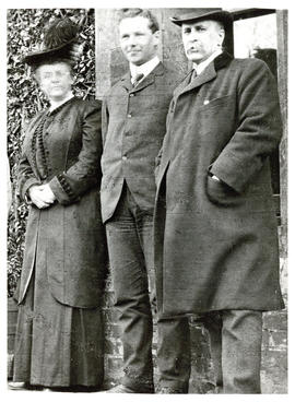 Photograph of three unknown individuals related to health
