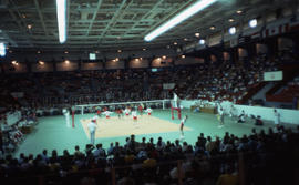 Photograph of women's volleyball featuring Canada versus Cuba