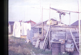 Photograph of a cabin in Newfoundland and Labrador with laundry and fish hanging on lines to dry
