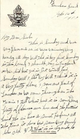 Letter from Weldon Morash to his sister Gertrude dated 14 July 1918