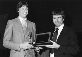 Photograph of Phil Perrin and Al Scott : Volleyball award presentation
