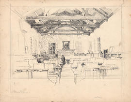 Unfinished Arthur Lismer sketch of the main reading room of the Macdonald Memorial Library commis...