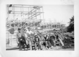 Photograph of a group of men the Arts & Administration Building construction site