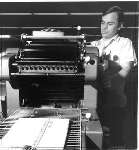Photograph of a machine in the printing centre in the Killam Memorial Library