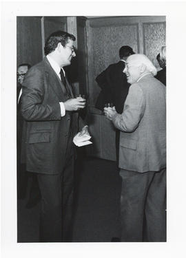 Photograph of an unidentified man and Henry Hicks at the Dalplex Campaign kick-off reception