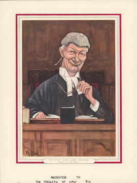 Caricature drawing of the Right Hon. Lord Denning, Master of the Rolls