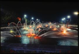 Photo negative of fountains in Batumi, Georgia