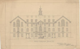 Technical drawing of the north elevation of a Dalhousie arts building