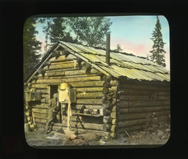 Photograph of a log cabin