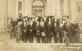 Postcard with a photograph of attendees at a Dalhousie University reunion