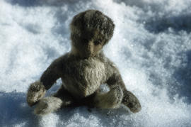 Photograph of a doll made of fur from Port Burwell, Northwest Territories
