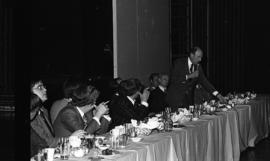 Photograph of Robert Stanfield speaking at a ring presentation