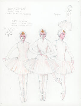 Costume design for corps of Brides/Swans