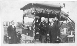 Photograph of A. S. MacKenzie, the Duke of Connaught, and Mr. Campbell at the laying of the corne...