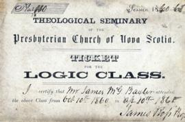 Ticket to a logic class  at the theological seminary of the Presbyterian Church of Nova Scotia
