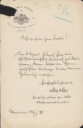 Letter from Gustav Mahler