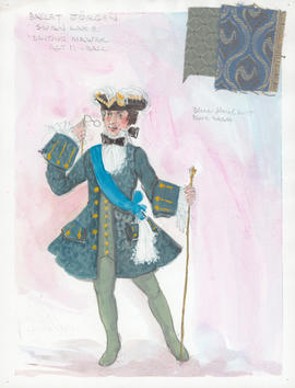 Costume design for Dancing Master at the ball : Act 2