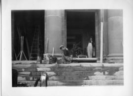 Photograph of the Arts & Administration Building front steps under construction