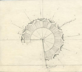 Conical projection drawing of the Dalhousie University mace
