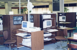 Photograph of the computer workstations at the Killam Memorial Library, Dalhousie University
