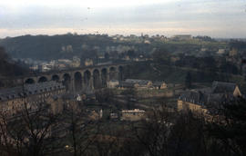Photograph of Luxembourg City and the Passerelle (Luxembourg Viaduct), aerial view