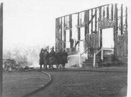 Photograph of firemen at the gymnasium fire